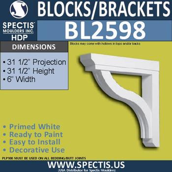 "BL2598 Eave Block or Bracket 6""W x 31.5""H x 31.5"" P"