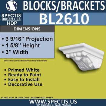 "BL2610 Eave Block or Bracket 3""W x 1""H x 3"" P"