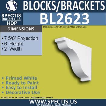 "BL2623 Eave Block or Bracket 2""W x 6""H x 5.9"" P"