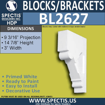 "BL2627 Eave Block or Bracket 3""W x 14.9""H x 9.2"" P"