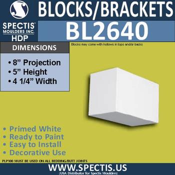 "BL2640 Eave Block or Bracket 4""W x 5""H x 8"" P"