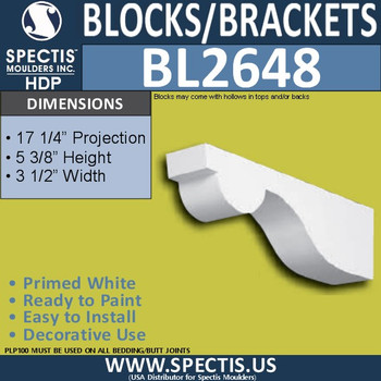 "BL2648 Eave Block or Bracket 3.5""W x 5.4""H x 17.25"" P"