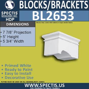 "BL2653 Eave Block or Bracket 5.75""W x 5""H x 7.9"" P"