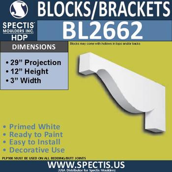 "BL2662 Eave Block or Bracket 3""W x 12""H x 29.1"" P"