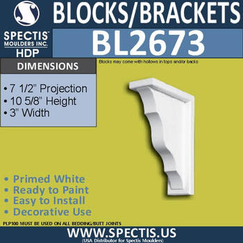 "BL2673 Eave Block or Bracket 3""W x 10.6""H x 7.5"" P"