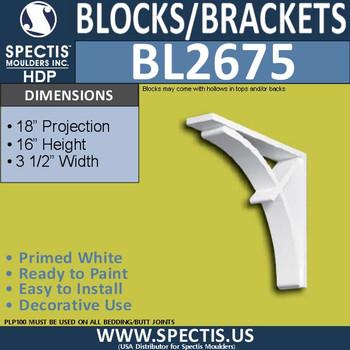 "BL2675 Eave Block or Bracket 3.5""W x 16""H x 18"" P"
