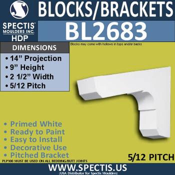 "BL2683 Eave Block or Bracket 2.5""W x 9""H x 14"" P"
