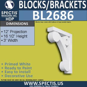 "BL2686 Eave Block or Bracket 3""W x 16.5""H x 12"" P"