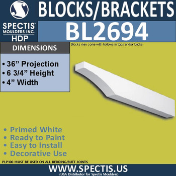 "BL2694 Eave Block or Bracket 4""W x 6.75""H x 36"" P"