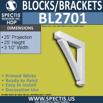 "BL2701 Eave Block or Bracket 3.5""W x 25""H x 25"" P"