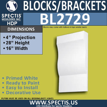 "BL2729 Eave Block or Bracket 16""W x 28""H x 4"" P"