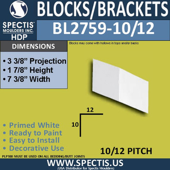 "BL2759-10/12 Pitch Eave Bracket 7.29""W x 1.7""H x 3.4"" P"
