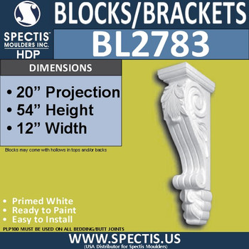 "BL2783 Eave Block or Bracket 12""W x 54""H x 20"" P"