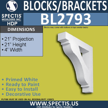 "BL2793 Eave Block or Bracket 4""W x 21""H x 21"" P"