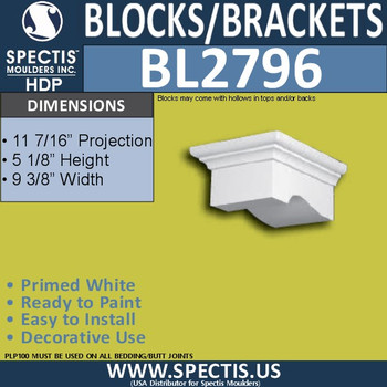 "BL2796 Eave Block or Bracket 9.3""W x 5.13""H x 11.5"" P"