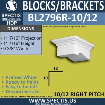 "BL2796R-10/12 Pitch Eave Bracket 9.3""W x 5.1""H x 11.5"" P"