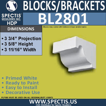 "BL2801 Eave Block or Bracket 3.75""W x 3.5""H x 3.75"" P"