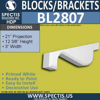 "BL2807 Eave Block or Bracket 1.5""W x 3""H x 22.75"" P"