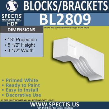 "BL2809 Eave Block or Bracket 3.5""W x 5.5""H x 13"" P"