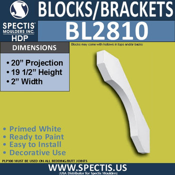 "BL2810 Eave Block or Bracket 2""W x 19.5""H x 20"" P"
