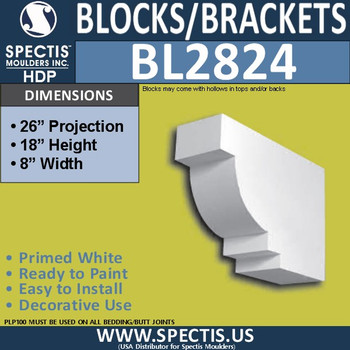"BL2824 Eave Block or Bracket 8""W x 18""H x 26"" P"