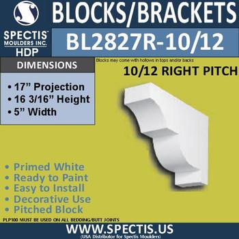"BL2827R-10/12 Pitch Eave Bracket 5""W x 16.2""H x 17"" P"
