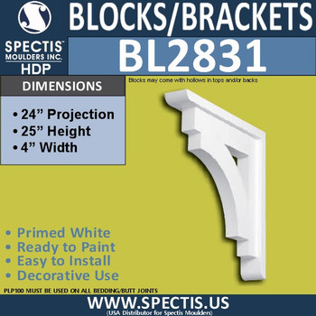 "BL2831 Eave Block or Bracket 4""W x 25""H x 24"" P"