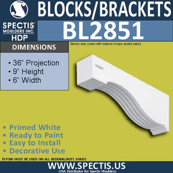 "BL2851 Eave Block or Bracket 6""W x 9""H x 36"" P"