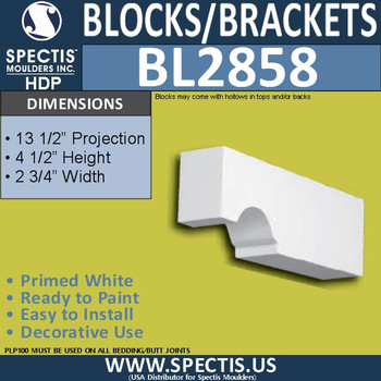 "BL2858 Eave Block or Bracket 2.75""W x 4.5""H x 13.5"" P"
