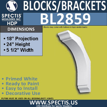 "BL2859 Eave Block or Bracket 5.5""W x 24""H x 18"" P"