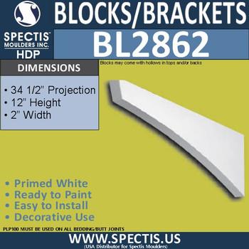 "BL2862 Eave Block or Bracket 2""W x 12""H x 34.5"" P"