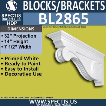 "BL2865 Eave Block or Bracket 7.5""W x 14""H x 32"" P"
