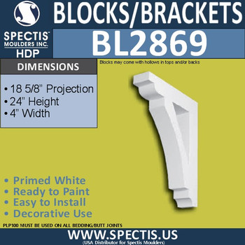 "BL2869 Eave Block or Bracket 4""W x 24""H x 18.5"" P"