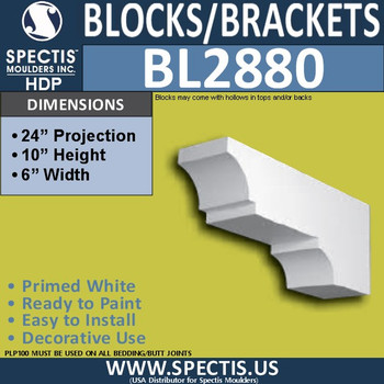 "BL2880 Eave Block or Bracket 6""W x 24""H x 10"" P"