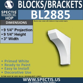 "BL2885 Eave Block or Bracket 3""W x 9.25""H x 9.25"" P"