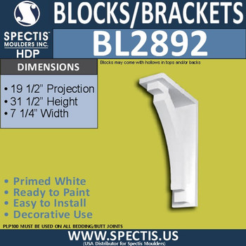 "BL2892 Eave Block or Bracket 7.25""W x 31.5""H x 19.5"" P"