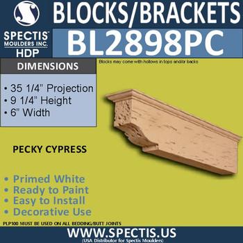 """BL2898PC Pecky Cypress Bracket 9.25""""W x 6""""H x 35.25"""" P"""