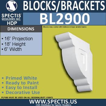"BL2900 Eave Block or Bracket 6""W x 18""H x 16"" P"