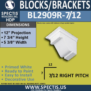 "BL2909R-7/12 Pitch Eave Bracket 5.3""W x 7.75""H x 12"" P"