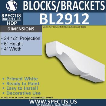 "BL2912 Eave Block or Bracket 4""W x 6""H x 24.5"" P"