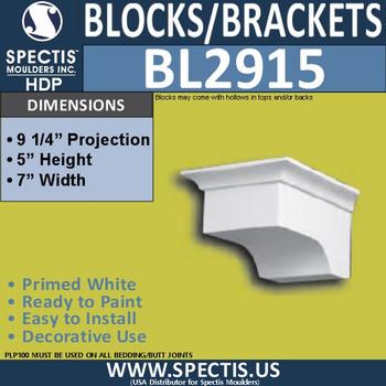 "BL2915 Eave Block or Bracket 7""W x 5""H x 9.25"" P"
