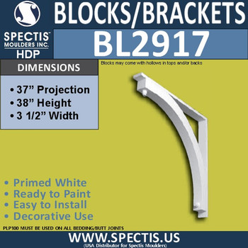 "BL2917 Eave Block or Bracket 3.5""W x 38""H x 37"" P"