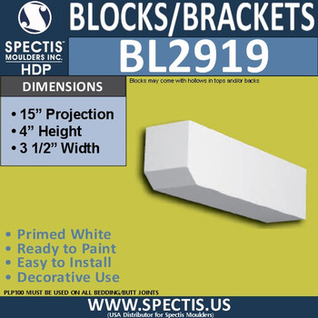 "BL2919 Eave Block or Bracket 3.5""W x 4""H x 15"" P"