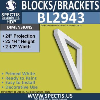"BL2943 Eave Block or Bracket 2.5""W x 25.25""H x 24"" P"