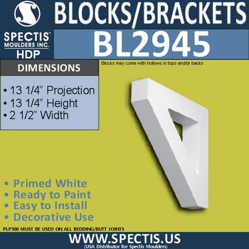 "BL2945 Eave Block or Bracket 2.5""W x 13.25""H x 13.25"" P"