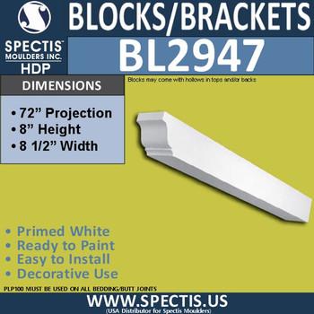"BL2947 Eave Block or Bracket 8.5""W x 8""H x 72"" P"