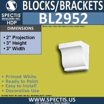 "BL2952 Eave Block or Bracket 3""W x 3""H x 2"" P"