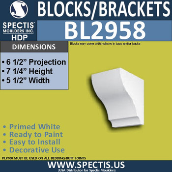 "BL2958 Eave Block or Bracket 5.5""W x 7.25""H x 6.5"" P"