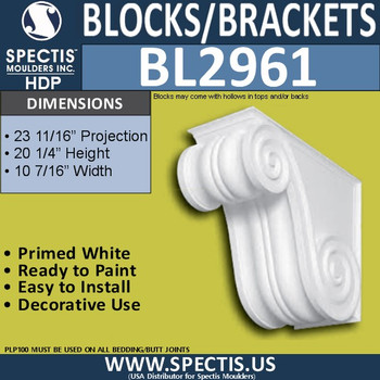 "BL2961 Eave Block or Bracket 20.25""W x 10.5""H x 23.5"" P"