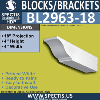 "BL2963-18 Eave Block or Bracket 4""W x 4""H x 18"" P"